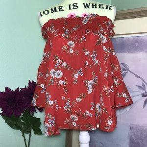 Tops - 5/$25 Red/Orange Floral Off Shoulder Top